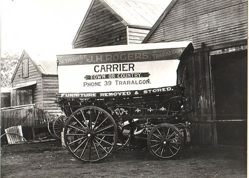 Wagon used for cartage by J H Rogers Traralgon.