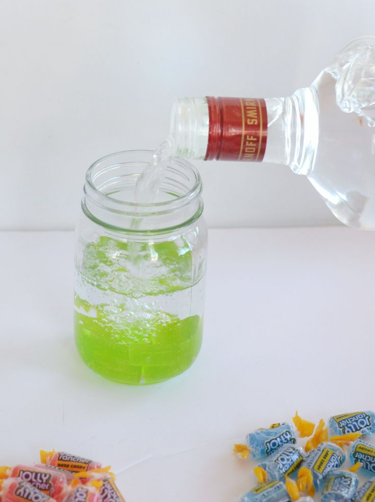 Easy candy infused vodka. Jolly Rancher Vodka on Kid + Kin.