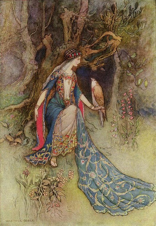 CANACEE AND THE FALCON BY WARWICK GOBLE  Canacee and the Falcon. [Depiction of scene from Chaucer's The Canterbury Tales: The Squire's Tale.] Artist: Warwick Goble. Image published: 1912.