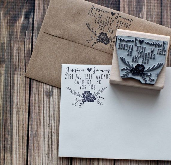 Use a stamp like this for return addresses.  Rustic Deer Antler Return Address Wedding by RedCloudBoutique, $25.00