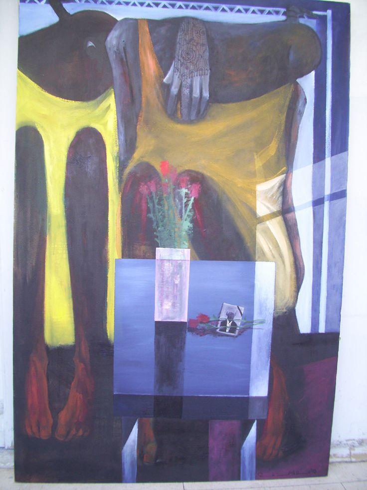 Shop online www.artiquea.co.uk. Rezan Arab, #Painting #Syrian #artist. Oil on #canvas. 100cmx150cm.