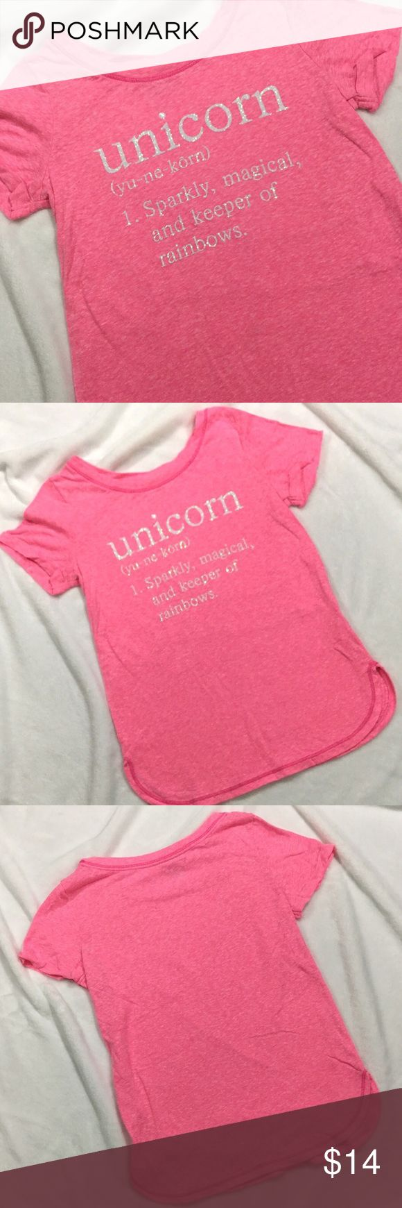 {Justice} Girls Pink UNICORN Sparkle shirt. Sz 8 JUSTICE Girls Pink UNICORN Sparkle shirt. Sz 8. No stains or holes. Sparkly white Unicorn definition Justice Shirts & Tops Tees - Short Sleeve