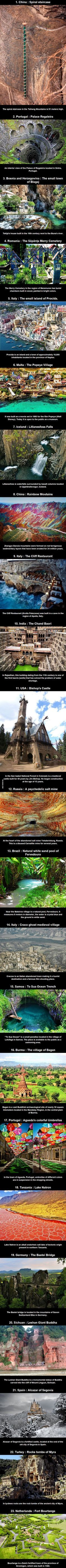 23 places to visit before dying   Some of these places are pretty cool
