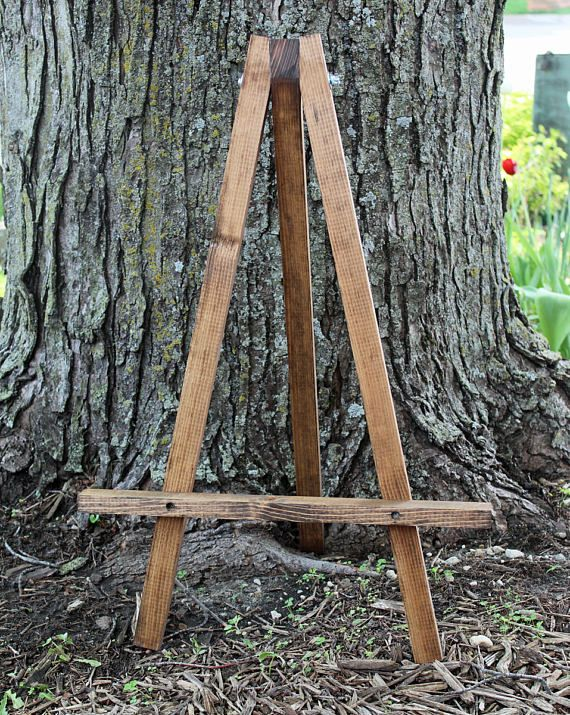 Easel Wood Rustic Knotty Pine Picture Frame Holder Table Top