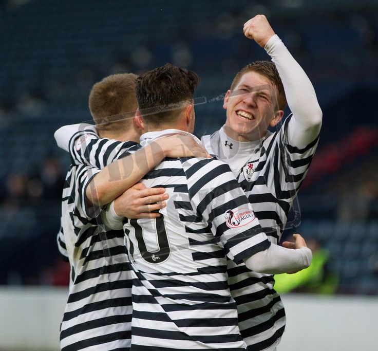 Queen's Park's players celebrate Paul Woods' goal during the SPFL League Two game between Queen's Park and East Fife