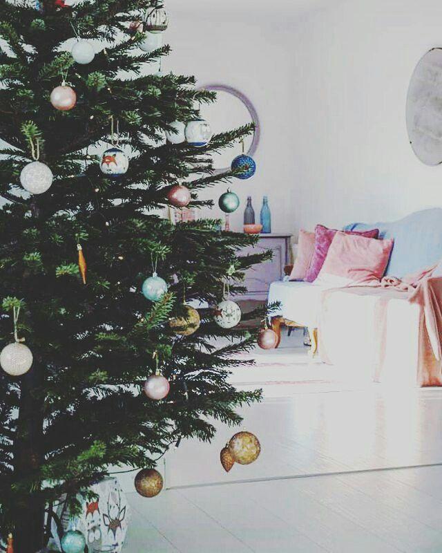 Christmas decor.Pastel living room.Pink home decor.