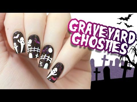 162 best halloween nail design tutorials images on pinterest graveyard ghosts halloween nail art prinsesfo Images