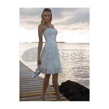 Abiti da Sposa Corti-Senza spalline gonna spiaggia abiti da sposa corti