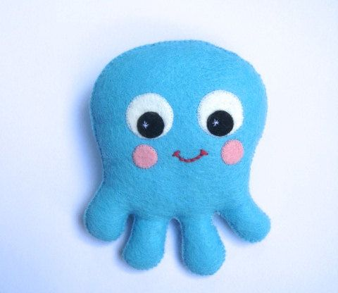Octopus Plush Toy  Felt Sea Creature by ClaireyLouCreations, $16.00