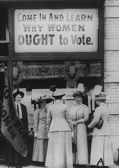 This picture represents the 19th Amendment.  It shows woman suffrage. Women fought for many years to gain the right to vote, and finally in 1920 women everywhere were allowed to vote.