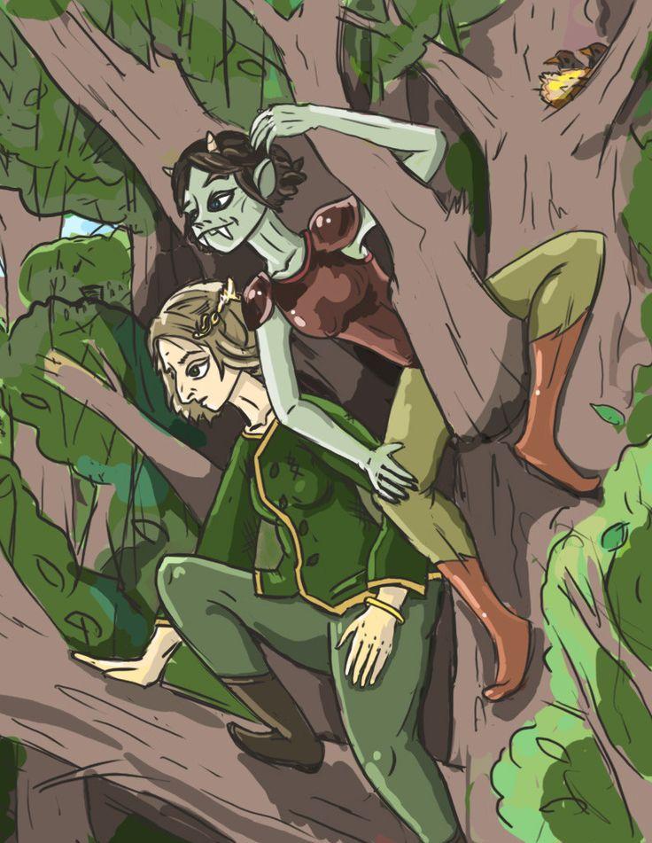 Orc girl and elf girl, Илья Матвеев on ArtStation at https://www.artstation.com/artwork/BzkN8