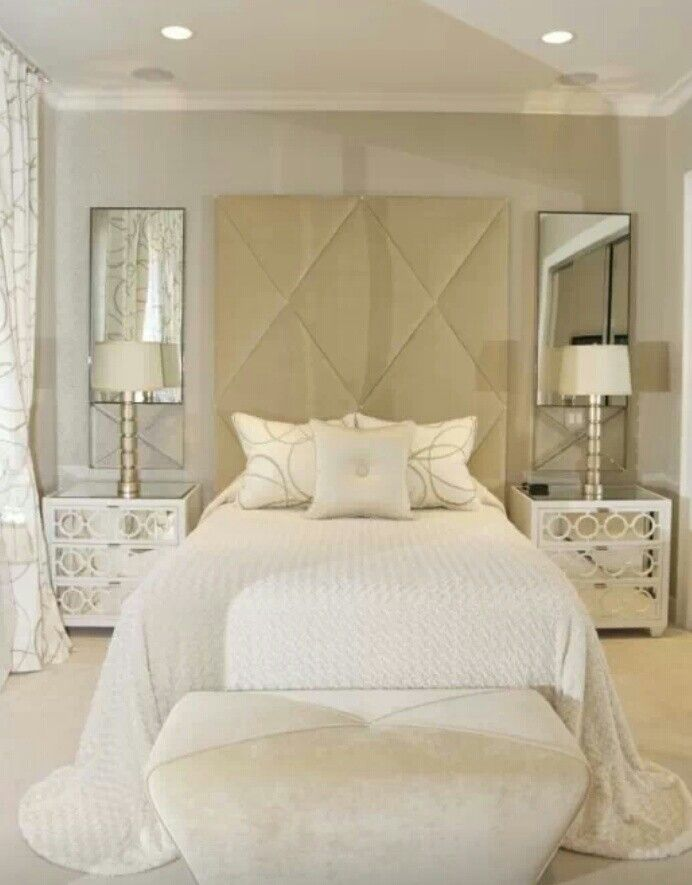 White decor white cream bedroom mirrors above nightstand75 best The Honeymoon Suite images on Pinterest   Bedrooms  Home  . Cream Bedroom Ideas. Home Design Ideas