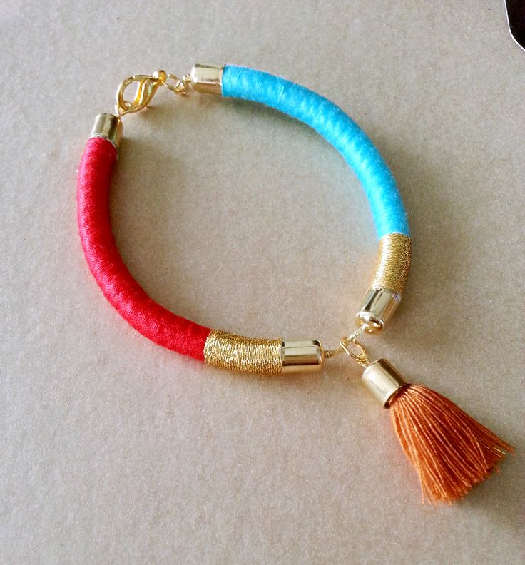 Red and Cyan Bracelet with Brown Tassel  (Captain America inspired)