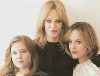 Melanie Griffith with Dakota Johnson and Stella Banderas