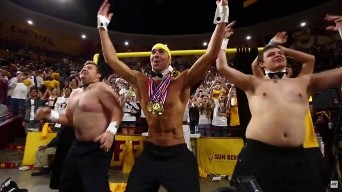 The Olympian took part in Arizona State University's 'Curtain of Distraction.'