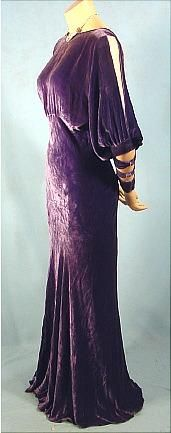 c. 1930's Purple Crushed Silk Velvet Open Cutout Sleeved Gown