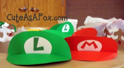 Mario and Luigi poster board visor tutorial...great for a party for Little Wild Man...