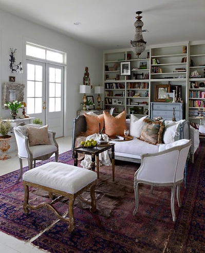 Karina Gentinetta NY Times: Karina Gentinetta, New Orleans Style, Living Rooms, Home Libraries, French Interiors, Color, House, Rugs, Orleans Decor