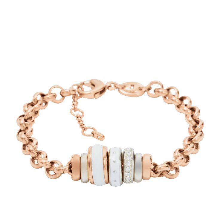 Bracelet fin perle fossil