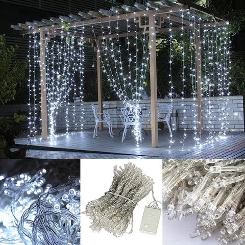 300 LED String Light Curtain Light for Christmas Wedding Party Home Decoration White