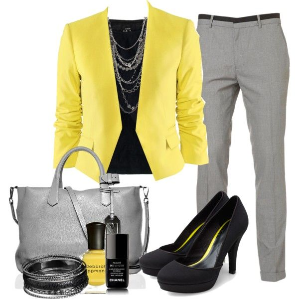 work outfits colored blazer, grey pants, chain necklace - spring