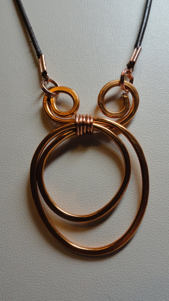 Cooper hand hammered necklace
