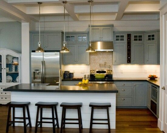 Steel grey cabinets w dark granite countertops and stainless steel appliances #home #remodel #kitchen #bathroom #interiors  www.jimhicks.com