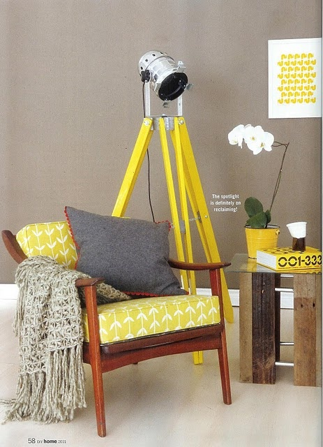 Retro Roosters silkscreen print in buttercup yellow in Home Magazine South Africa July 2011. With a beautiful @skinnylaminx upholstered chair.