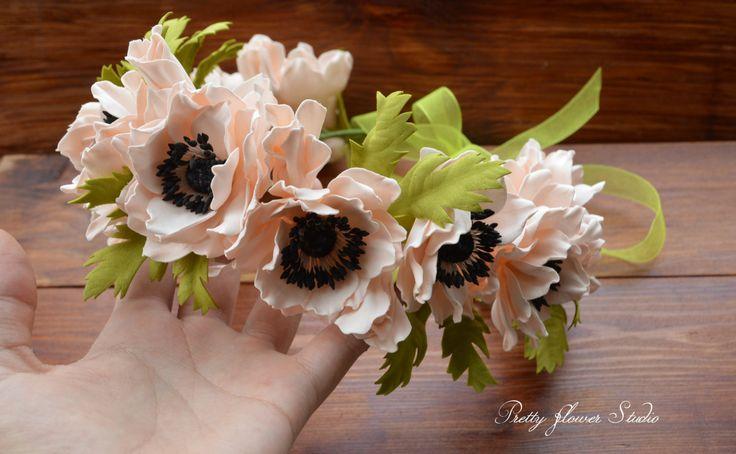 Boho Circlet, Anemone Flower Crown, Light Pink Flower Crown, Anemone Wreath…