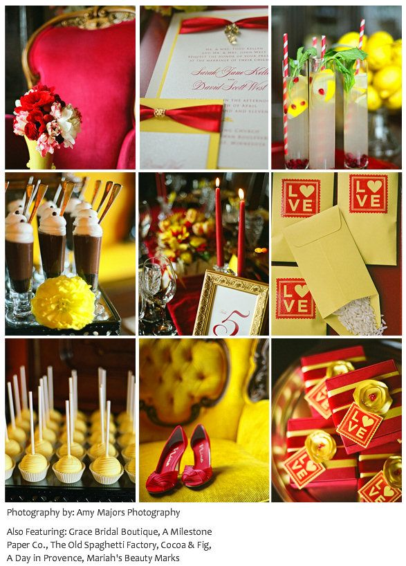 Bold Red and Yellow Colour Scheme for a Belle / Beauty & the Beast themed wedding