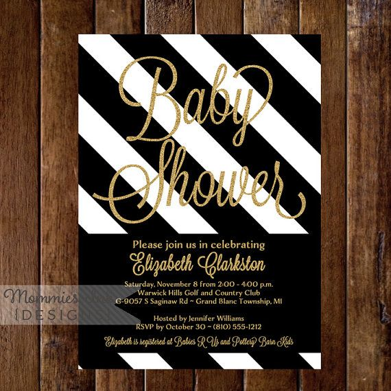 Gold Glitter Baby Shower Invitation, Black & White Stripes, Shower Invitation, Black White and Gold Invitation, Glam Baby Shower Invite