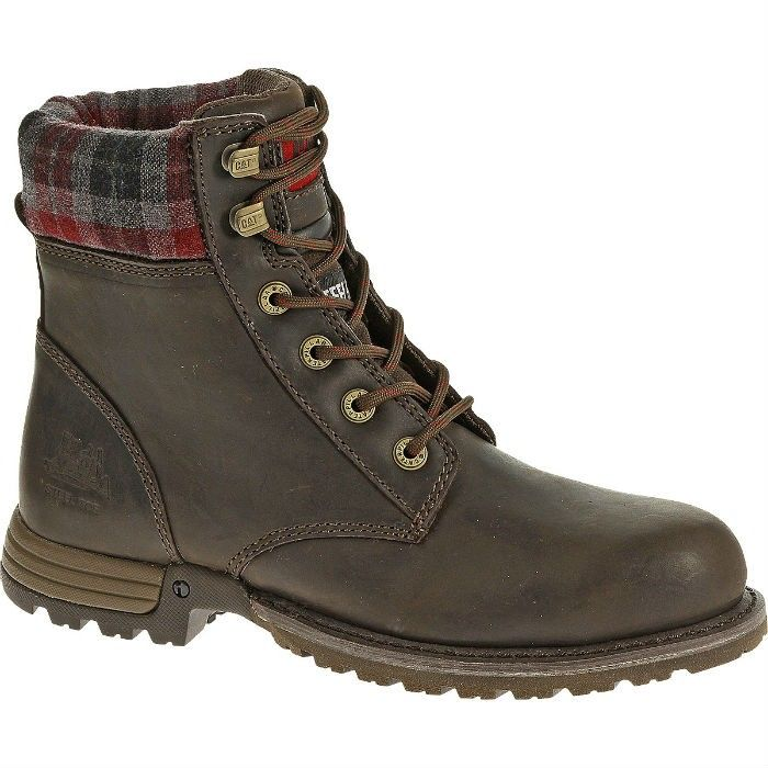 Womens Cat Kenzie Steel-Toe Work Boot: Bark