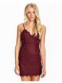 Eyelash Lace Bodycon Dress - New Look - Zinfandel - Party Dresses - Clothing - Women - Nelly.com