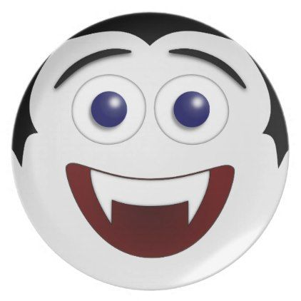 Laughing Smiley Face Vampire Melamine Plate - halloween decor diy cyo personalize unique party