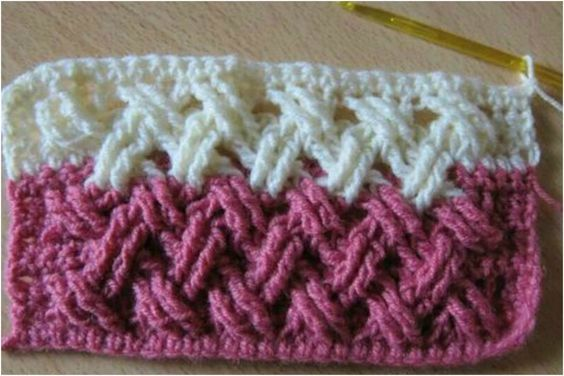 Double Cross Cable is a favourite crochet stitch and one of most popular. Found on designz.shibaguyz.com (thank You!) Need in many projects as very spectacular and effective. Mixing different colors gets beautiful final design. Every crochet