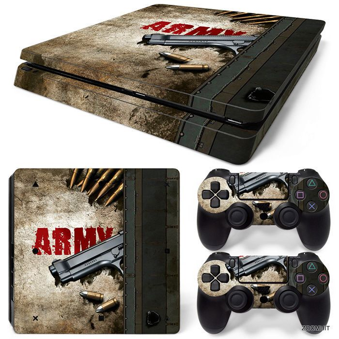 PS4 Slim Playstation 4 Console Skin Decal Sticker Army Gun + 2 Controller Skins #ZoomHit