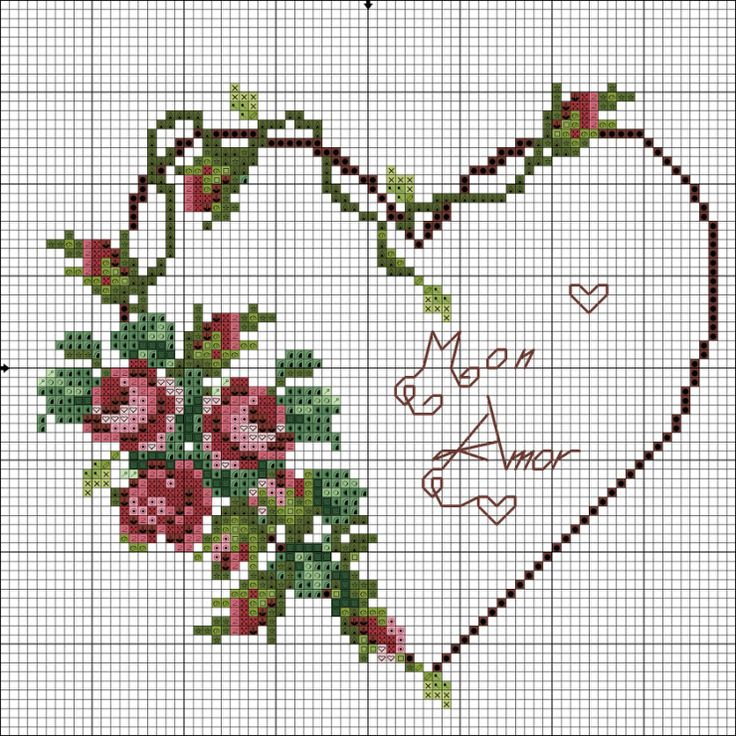 Cross-stitch Roses Vine Heart ... no color chart available, just use the pattern chart as your color guide.. or choose your own colors... Blog : http://broderiemimie44.canalblog.com/
