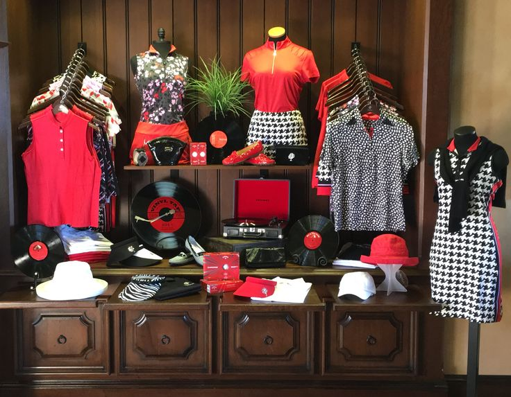 Fun use of color and props for this display at Toscana Country Club golf shop , Indian Wells, CA