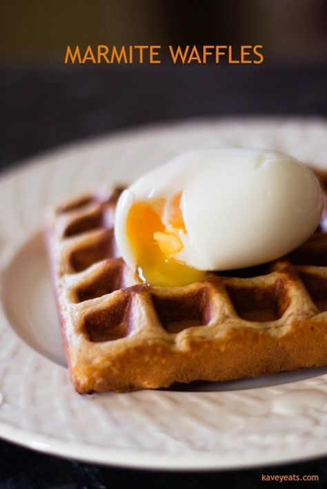 Marmite Waffles recipe on Kavey Eats | Love or hate it, no one's indifferent to the famous yeast extract brand, Marmite! These waffles are subtly flavoured with Marmite for a rich savoury waffle that's perfect with eggs.