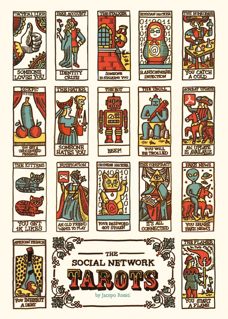 Artist Creates Illustrations of a Modern Tarot Card Deck Inspired by Social Media and Internet Culture