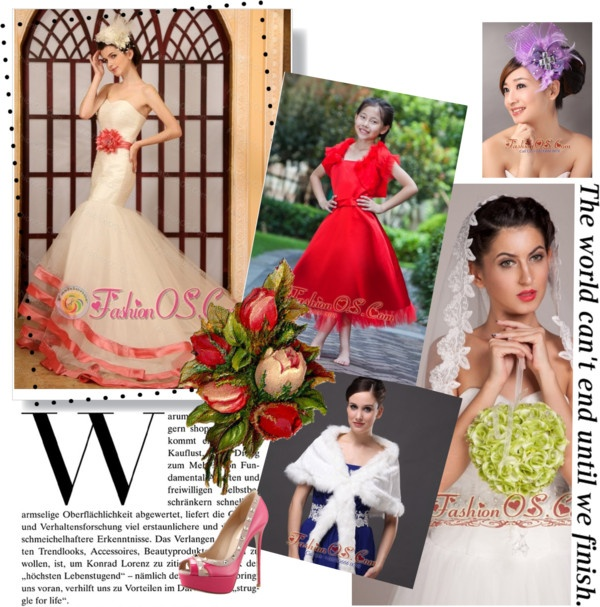 """""""Watermelon Red Hand Made Flower Belt Mermaid Sweetheart Wedding Dress With Chapel Train"""" by weddingdressesforyou ❤ liked on Polyvore"""