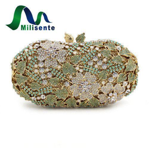 Women Clutch / Evening Bag Green Flower Crystal Clutch – Premium Luxury Clutches & Purses