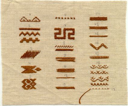 Chuvash (Russia) traditional folk embroidery stitches