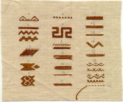Chuvash (Russia) traditional folk embroidery stitches