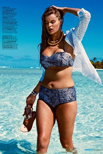 "Refreshingly real, plus-size (I know, ""you call that plus size?!"" ) model Robyn Lawley models for Cosmo. Slide Show + Article   Lexi Nisita refinery29.com"
