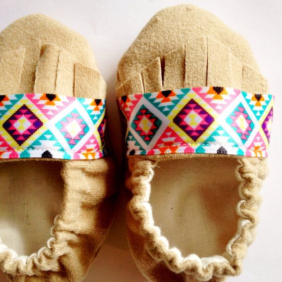 VERIFY SIZE before ordering - Handmade Aztec Baby Moccasins