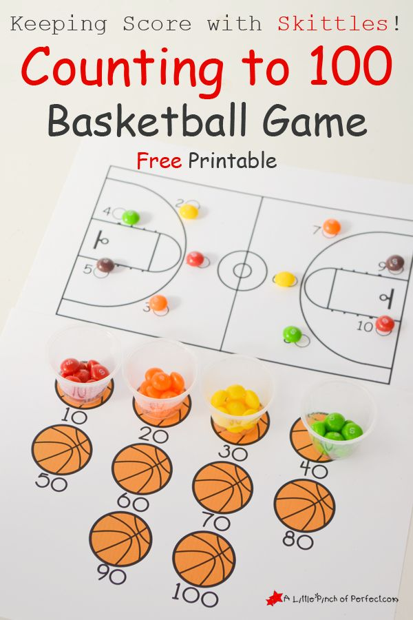Counting to 100 Basketball Game Free Printable  Keeping Score with Skittles!  #SkittlesTourney #ad