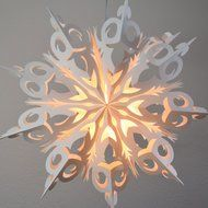 "24"" White Winter Frozen Snowflake Paper Star Lantern, Hanging Decoration"