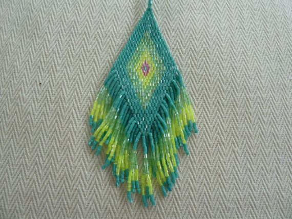 Bohemian Style Seed Beaded Fringe in Lime Green by amezti on Etsy