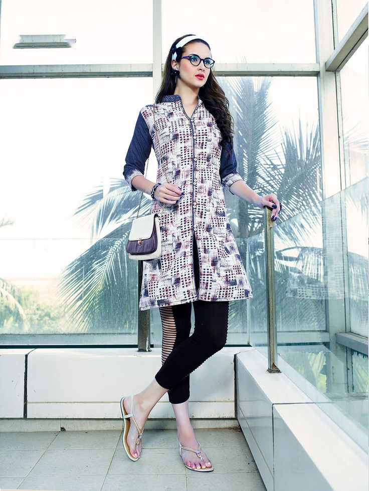 Off white and blue printed cotton denim kurti
